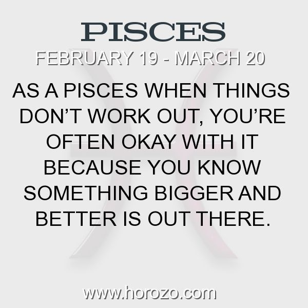 Fact about Pisces: As a Pisces when things don't work out, you're often... #pisces, #piscesfact, #zodiac. More info here: https://www.horozo.com/blog/as-a-pisces-when-things-dont-work-out-youre-often/ Astrology dating site: https://www.horozo.com