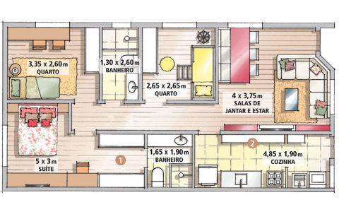 A área entre o quarto de casal e o banheiro anexo (1) ganhou armários para se converter em closet. Na cozinha, como a geladeira, a pia e o fogão foram alinhados à mesma superfície, o lado oposto (2) também pôde receber armários. Projeto de Gracy Sanches, Neilandia Almeida e Rosa Maria Katchuian.
