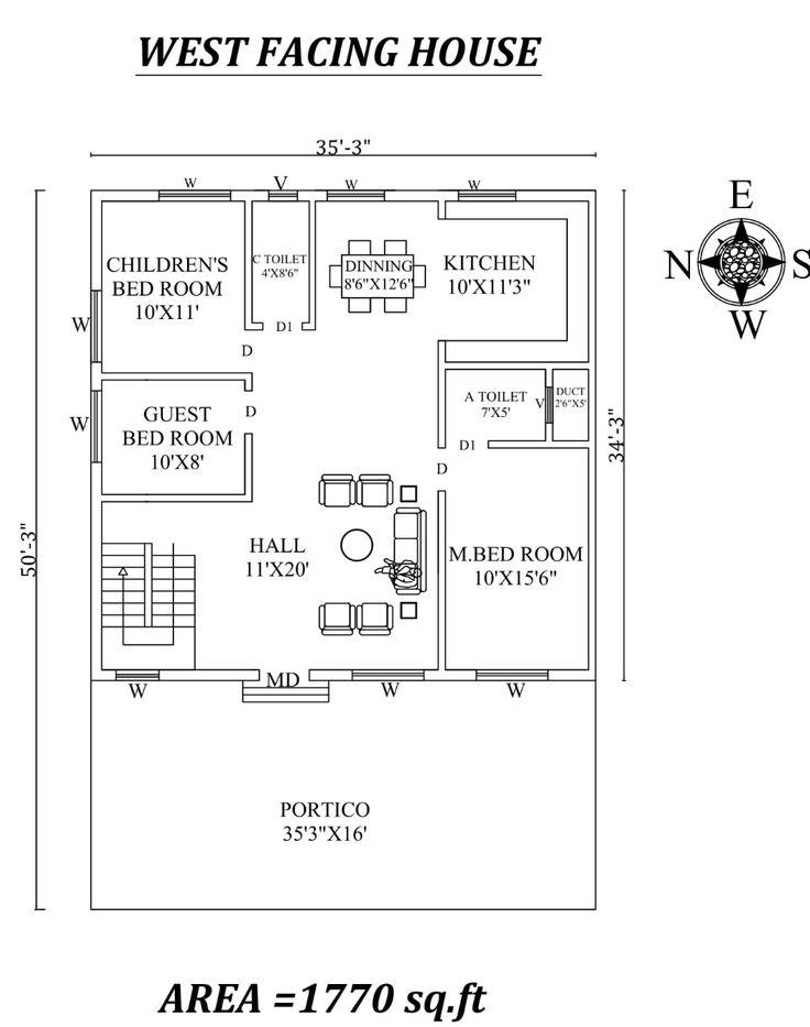 35 X 50 Beautiful 3bhk  West facing House  Plan  As Per