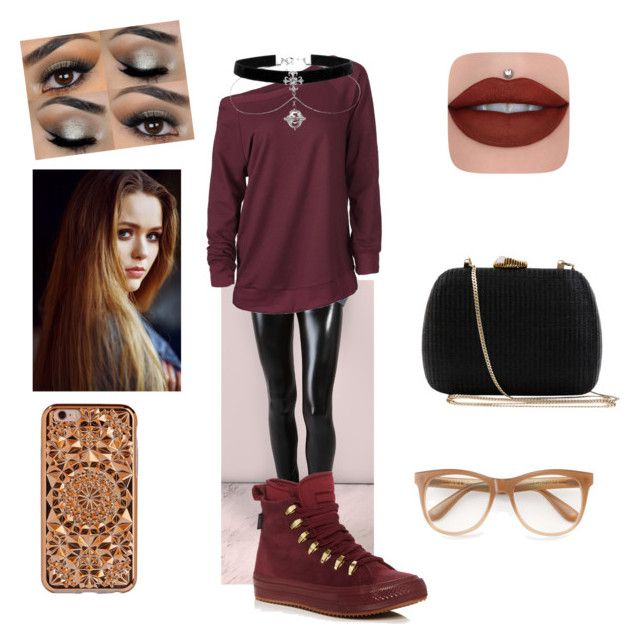 """maroon and crop Leggings"" by purdy-coma on Polyvore featuring Converse, Serpui, Felony Case, Toni&Guy and Wildfox"