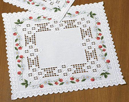 Wild Strawberries Hardanger Table Mat Kit | sewandso