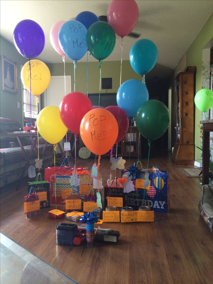 So for Nathan's (my boyfriend) 16th birthday I did 16 presents and on each present is a balloon and in the balloon is a reason why I love him and he had to pop the balloon to get to the reason. Each present was numbered in the order I wanted him to get them but the balloons were random