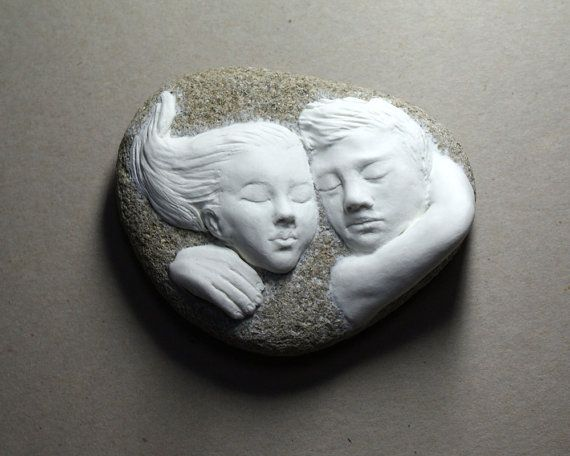 Lovers written in the stone! OOAK stone clay sculpture on river stone, one of a kind air dry stone clay sculpture of 2 lovers on a stone