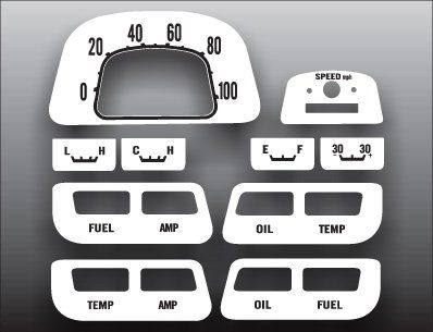 1964-1979 Toyota Landcruiser FJ40 White Face Gauges