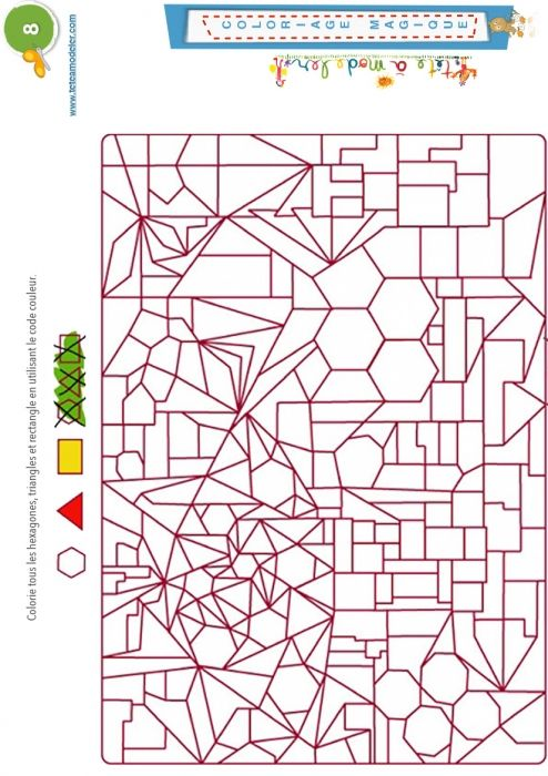 Coloriage magique 8 - hexagones, triangles, rectangles