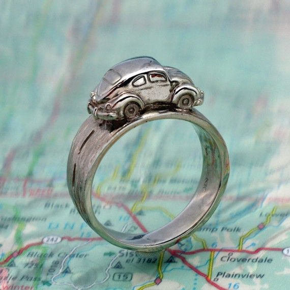 VW BUG RING Volkwagen Beetle Driving Around Your by BandScapes, $145.00 LOVE LOVE LOVE