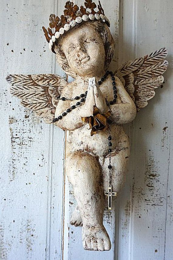 French Santos Cherub Statue W Rusty Crown Distressed Carved Wooden Angel Wall Hanging Embellished Religious Home Decor Anita Spero Design