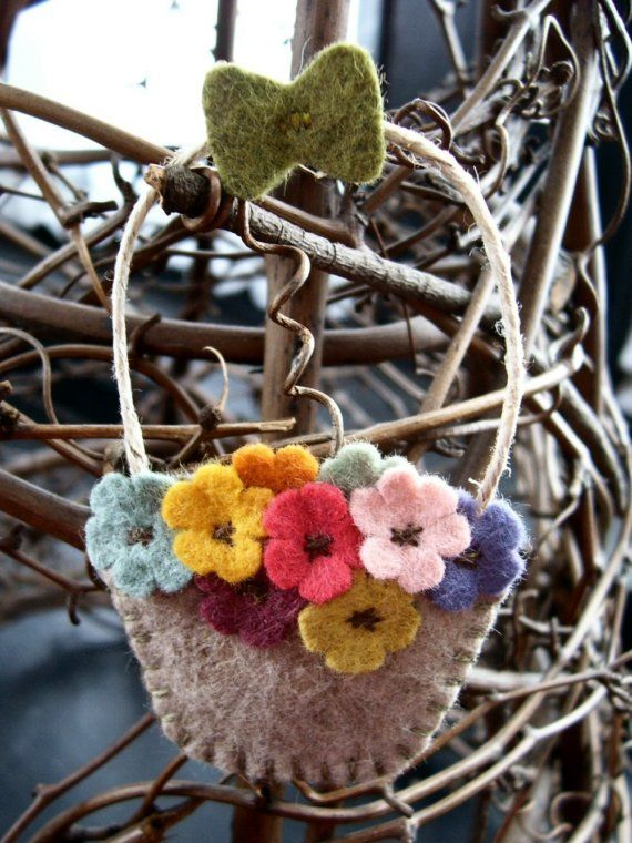 a tisket a tasket...  flower basket ornament by urbanpaisley