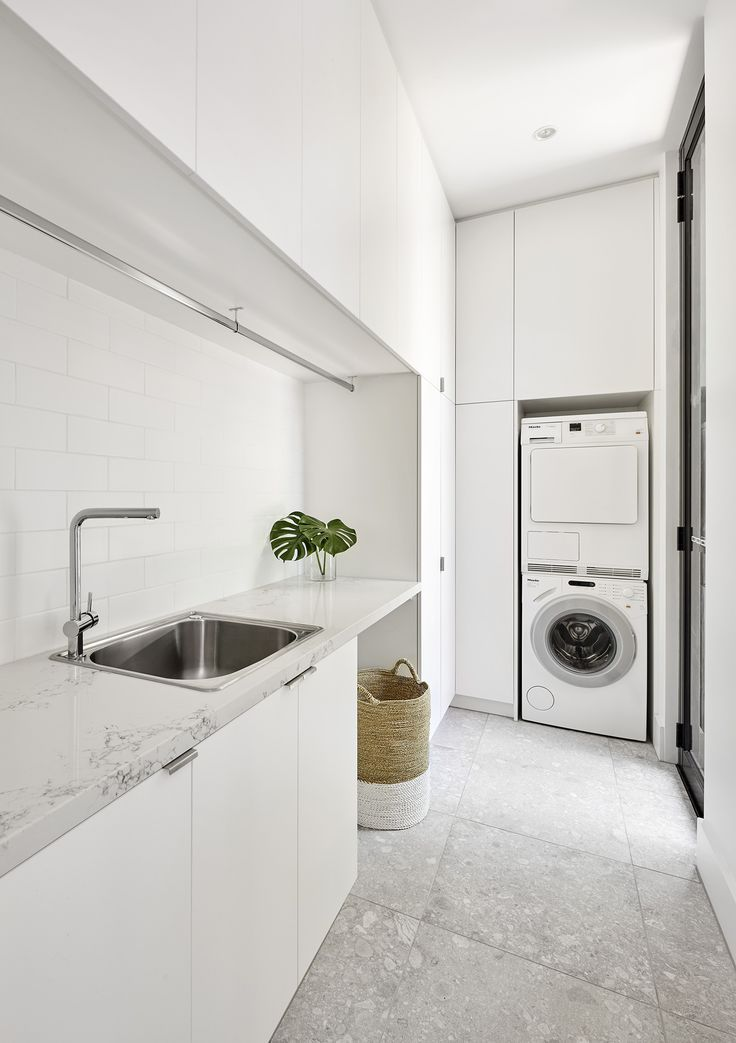 Big Floor Tiles White Cabinets Storage Modern Laundry Rooms Laundry Room Design Laundry Design