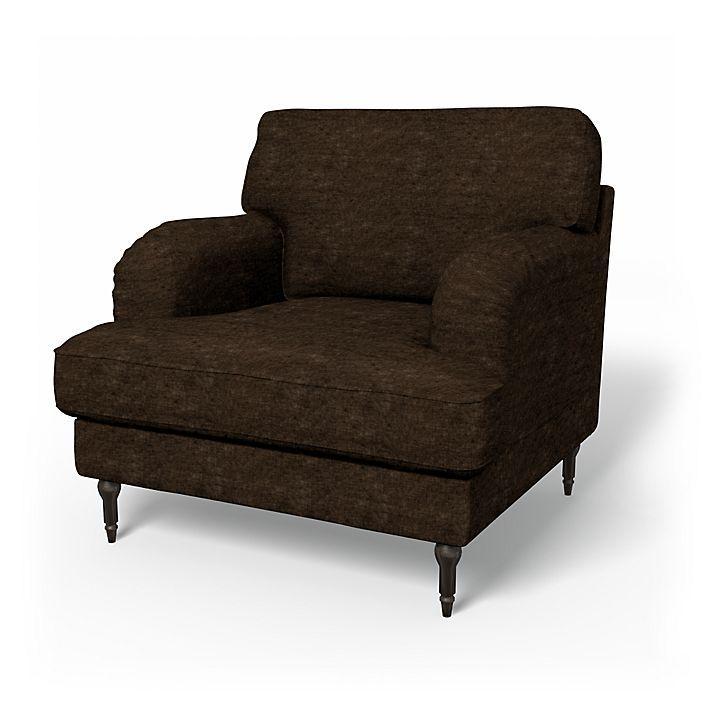 Stocksund, Armchair Covers, Armchair, Regular Fit using the fabric Zaragoza Vintage Velvet Espresso