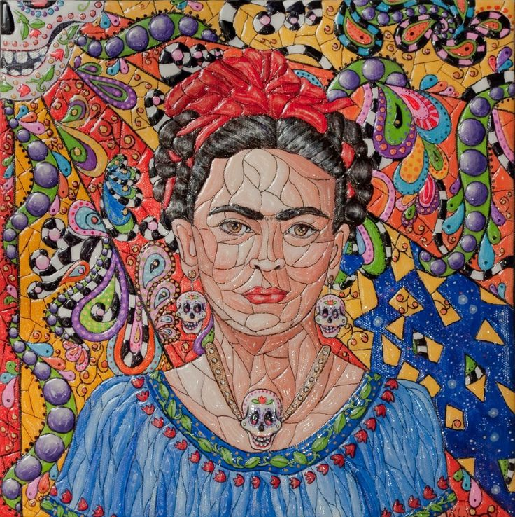 Frida Kahlo, Original Painting, Portrait, Mosaic Texture, 12x12 Studio Canvas. $165.00, via Etsy.