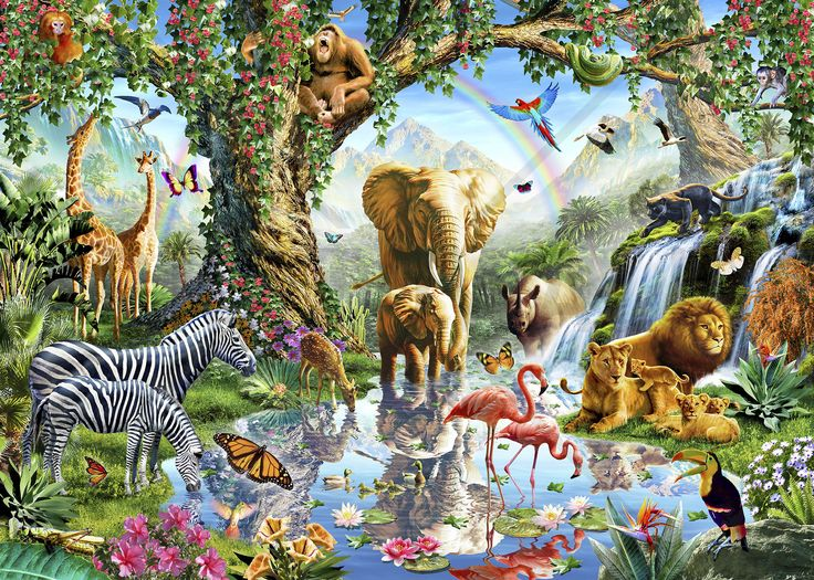 Jungle Lake with wild Animals - Fototapeter & Tapeter - Photowall