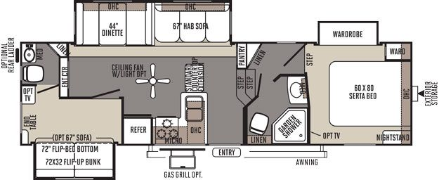 Rockwood signature ultra lite fifth wheel by forest river for Floor plans 5th wheel campers