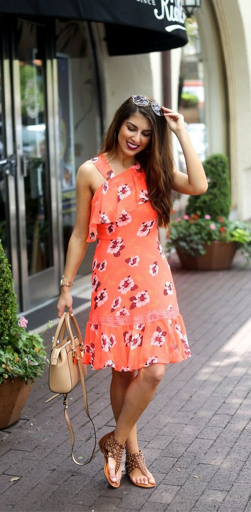 Summer Floral Dress Fun Summer Floral Dress with Naomi Trevino. Floral. Florals. Floral Dresses. Floral Dress. Summer Fashion. Summer Style. Summer Dress. Summer Dresses. Neon Dress. Orange Dress. Coral Dress. Houston Fashion Blogger.