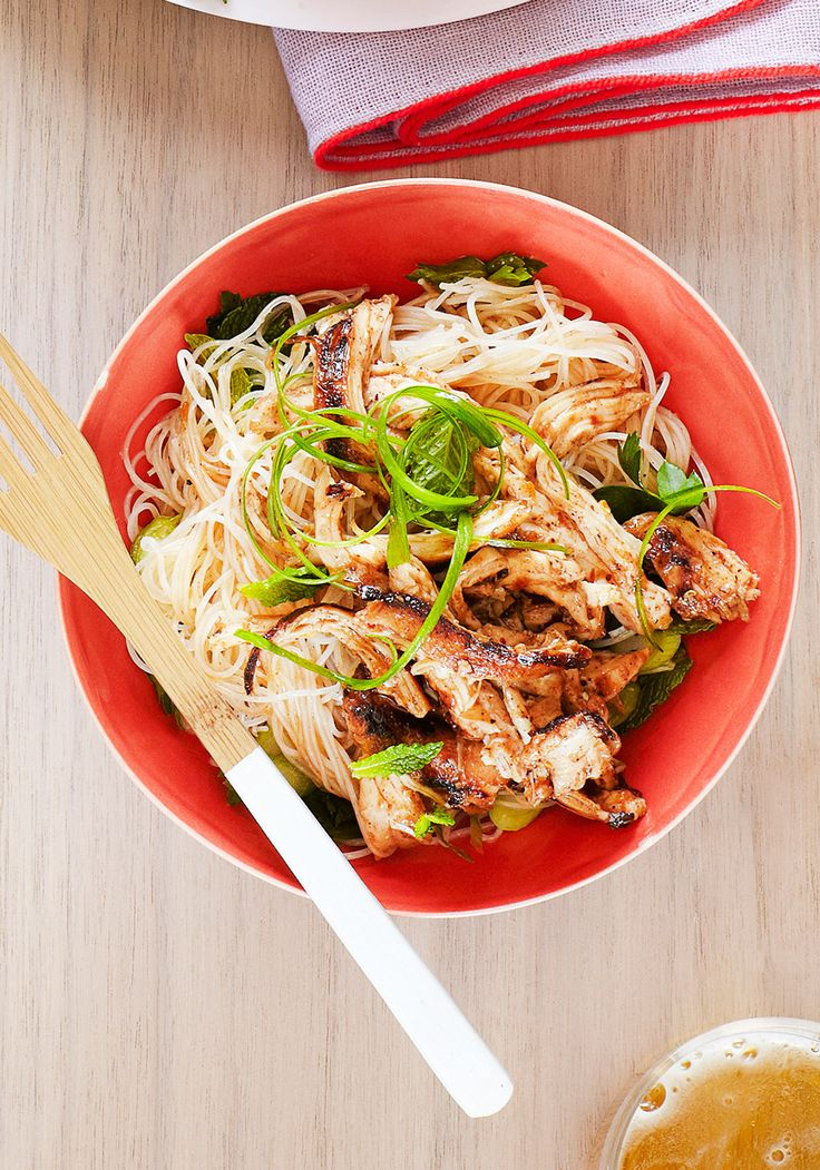 """""""My salad of chicken and rice vermicelli—thin, transparent noodles that soak up flavors perfectly—is bright and vibrant, with its garlicky, gingery, herbaceous dressing.""""—Sunny Anderson"""
