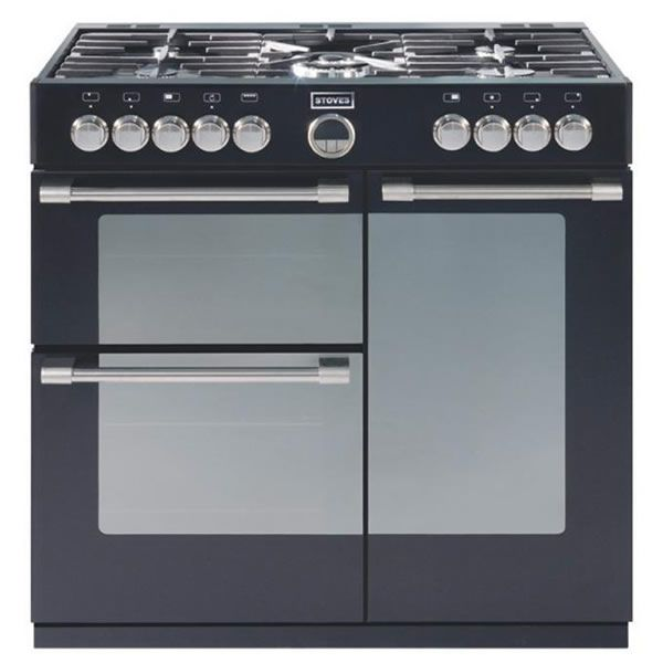 Stoves STERLING 900DFT BLACK 900mm Dual Fuel Range Cooker 5 x Burner Gas Hob Black | Dual Fuel Range Cookers | Electrical Discount UK