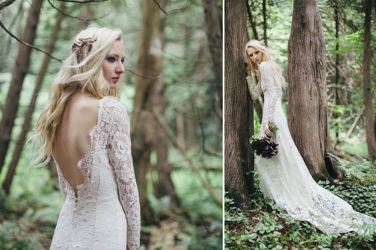 Long sleeved lace wedding dress.