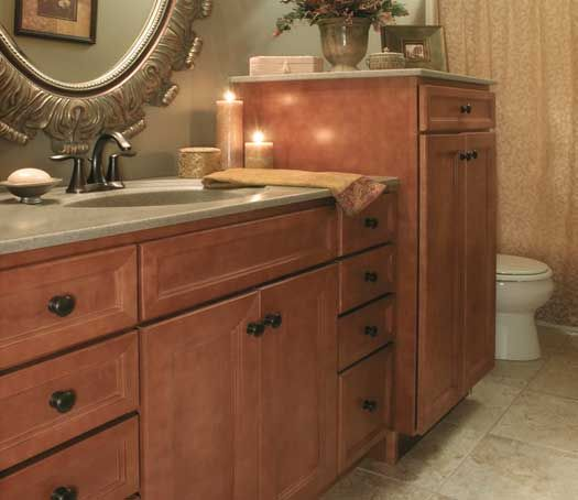 Picture Gallery For Website Keep your bathroom sleek and simple with the Homestead Maple vanity cabinet in a Truffle finish
