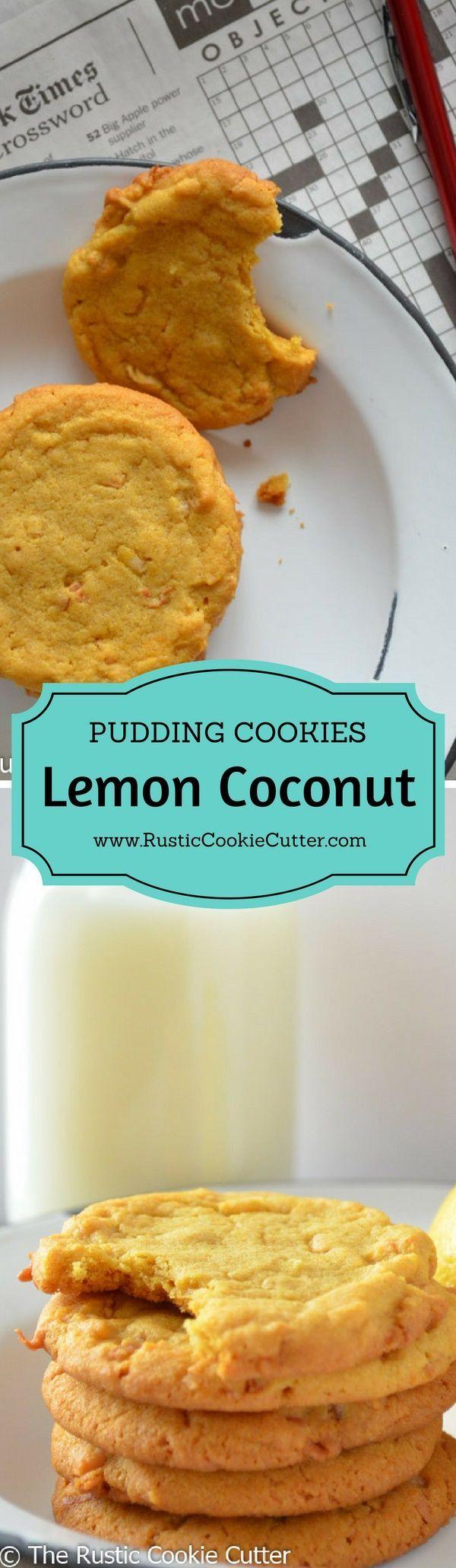 Super Soft & Chewy Lemon Pudding Cookies - Lemon Coconut Pudding Cookies