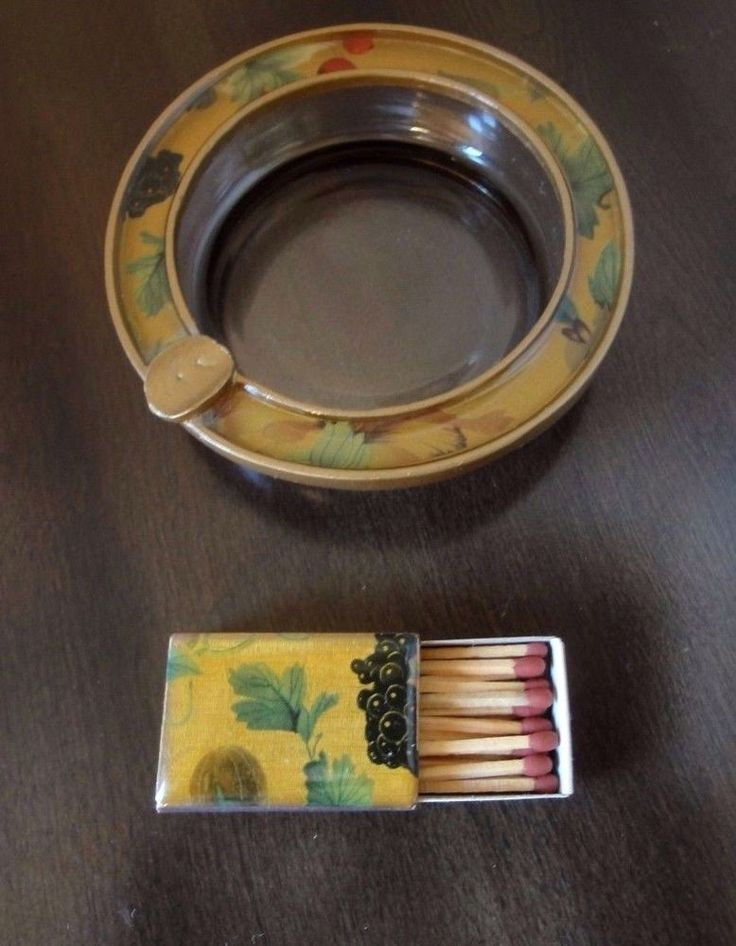 Hand Painted Floral Laquered Ashtray & Match box -Unique, Gold Color Metal…