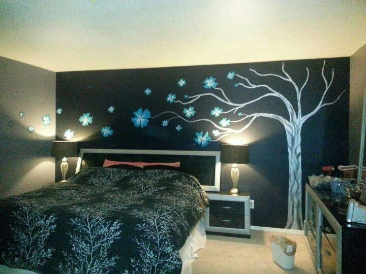 In The Night Garden Wall Mural Black And White Enchanted Forest Painting