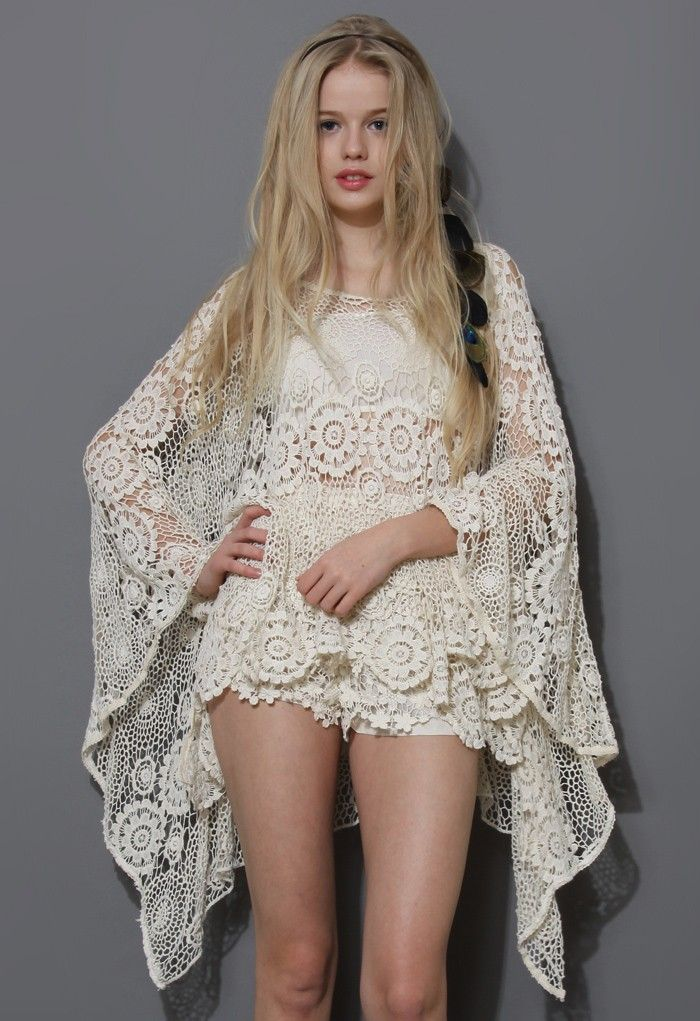 Boho Day Floral Crochet Poncho. Pin goes to a store, not a pattern. Inspiration only