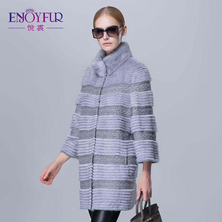 Winter women mink fur coat real natural fur strip outwear female long warm fashion fur jacket good quality wool coats