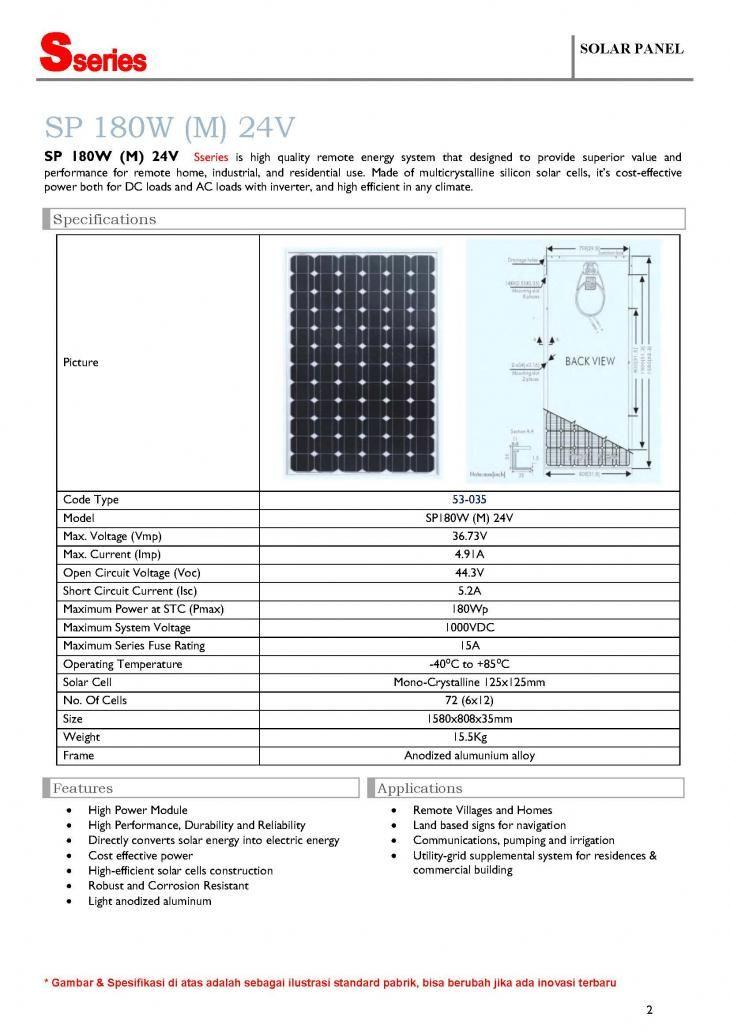 Solar Panel S Series SP 180W (M) 24V, 180WP - 24V