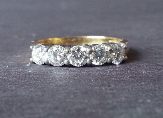 Diamond Eternity Ring, Gold 0.75 Carat Diamond Half Eternity Ring, Wedding Band Classic Elegant Engagement Ring, Anniversary Gift