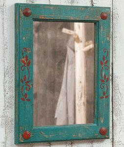 Turquoise and Red Mirror  love this color combination, throw in some neutral, browns and beiges to soften and wow