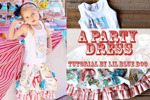 How to make a party dress using a tank top or t-shirt via lilblueboo.com