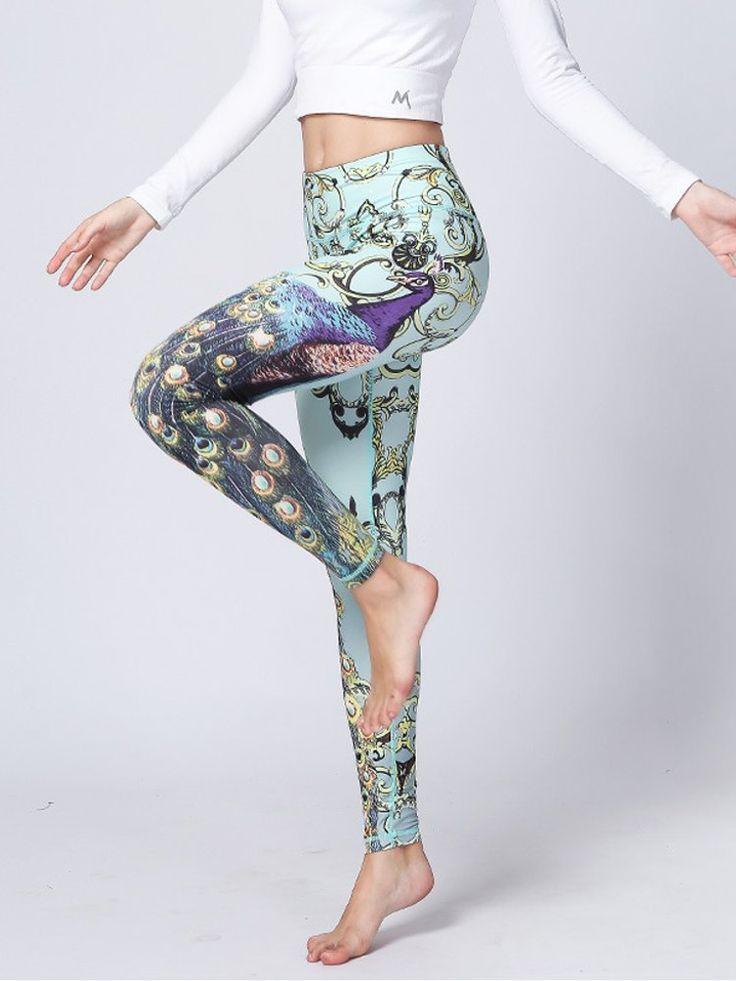Women Peacock Printed Stretch Yoga Pants