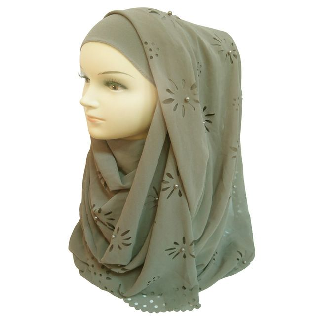 18085cm big size bubble chiffon floral laser cut pearls muslim hijab head wrap scarf shawl plain colours   – Products