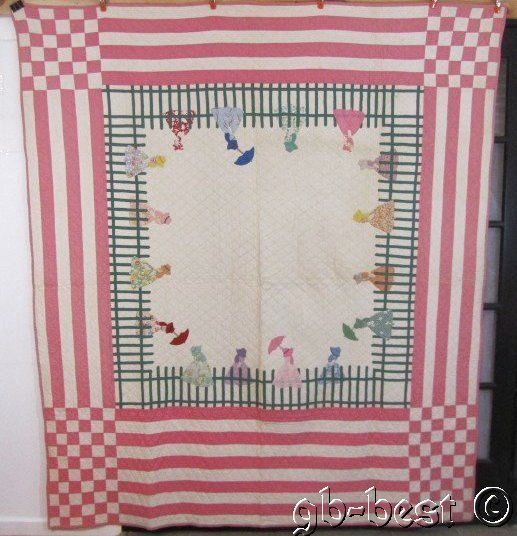 SHOW STOPPING 30s Sue Bonnet Applique Antique QUILT Fence Checkerboard PINK