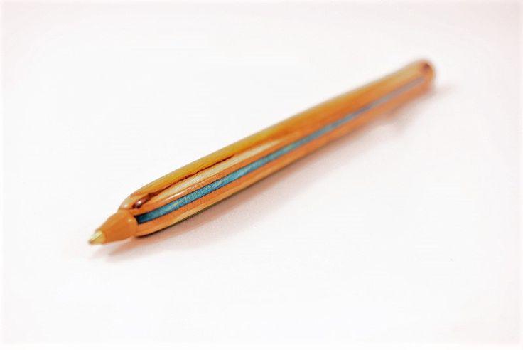 Recycled Skateboard Pen - Interchangeable Ink cartridge with Bic ballpoint pen - Skateboard Art by recycledskateboard on Etsy