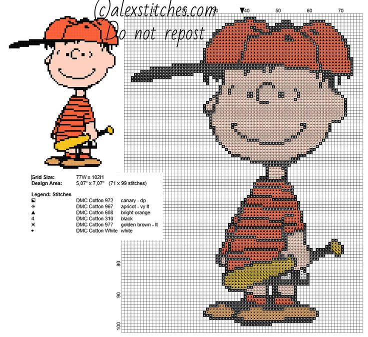 Linus baseball player Peanuts free cross stitch pattern 71 x 99 6 colors - free cross stitch patterns by Alex