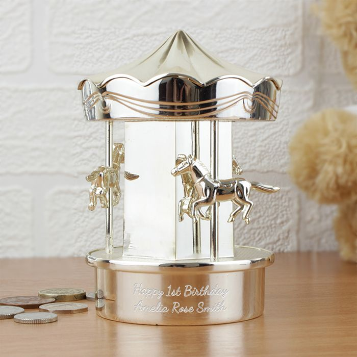 Personalised Silver Carousel Money Box http://justtherightgift.co.uk/personalised-carousel-money-box