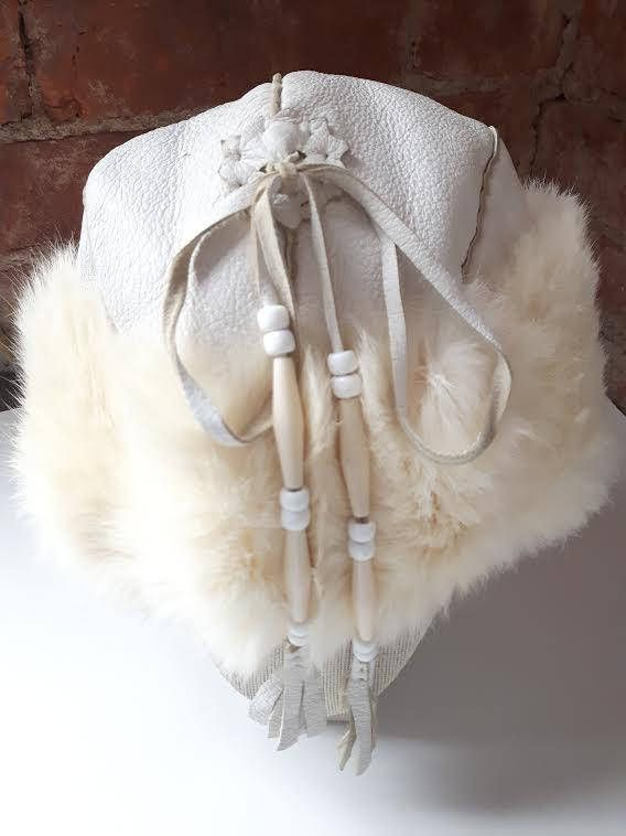 Vintage fur hat Native White leather and Rabbit Fur hat Fur