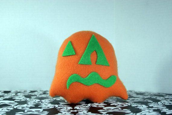 Poke Eyed Punkin' Ghost Plush Toy - Orange N Green - Z+Ghost