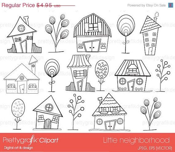 80% OFF SALE house neighbourhood digital stamp commercial use, vector graphics, digital stamp, digital images - DS397