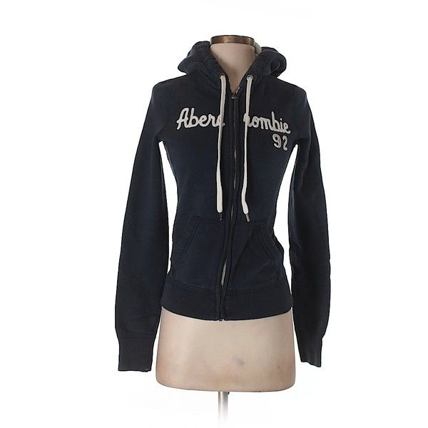 Pre-owned Abercrombie & Fitch Zip Up Hoodie Size 4: Navy Blue Women's... ($17) ❤ liked on Polyvore featuring tops, hoodies, navy blue, zip up hoodie, navy top, navy blue zip up hoodie, zip up top and navy hoodies
