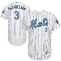 Mets #3 Curtis Granderson White(Blue Strip) Flexbase Collection