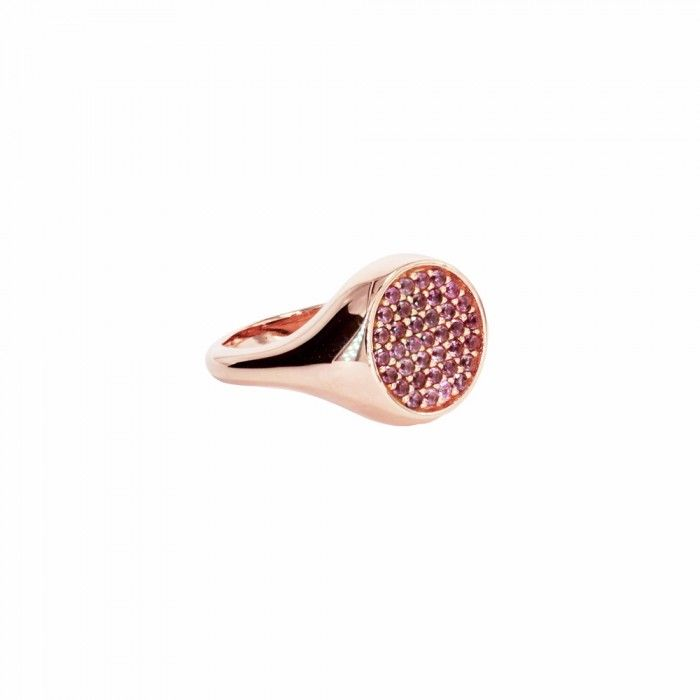 Anello da mignolo/chevalier in oro 9kt con zaffiri rosa SWAROVSKI  Gold Pinky-ring/chevalier 9kt with pink sapphires
