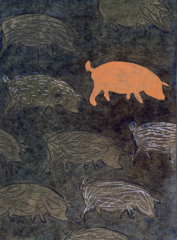 Pigs, 2016 mi vejnarova original A6, mixed media drawing