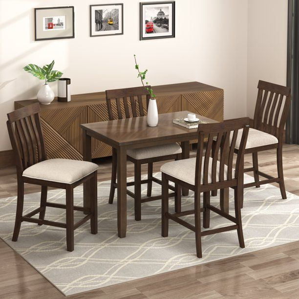 Apartment Furniture Sets Clearance Dining Set Kitchen Table With 4 Piece Chairs Dinette Set Vintag In 2020 Counter Height Dining Sets Dinette Sets Wood Dining Table