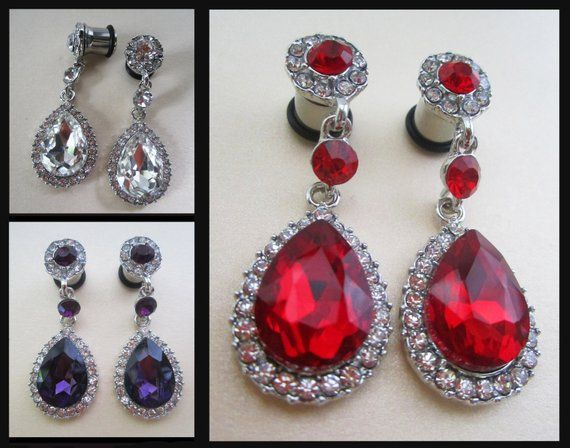 Glamorous Wedding Ear Tunnel Prom Plug Earrings You Pick Gauge Size Color Diamond Rhinestones 8g 6g 4g 2g 0g Aka 3mm 4mm 5mm 6mm 8mm
