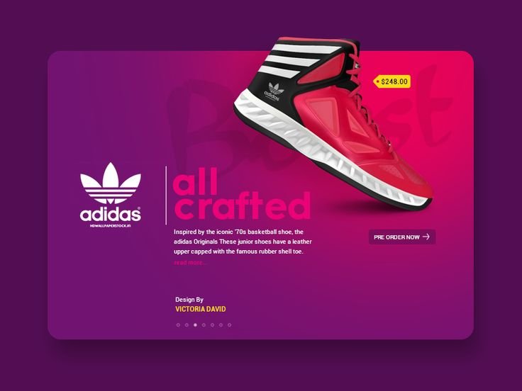 Daily UI #42 - Adidas  Personal project where I got the inspiration from my own shoe :) Comments, feedback, likes and follow are welcome!!!!  Also, take a look at my Nike product page concept.