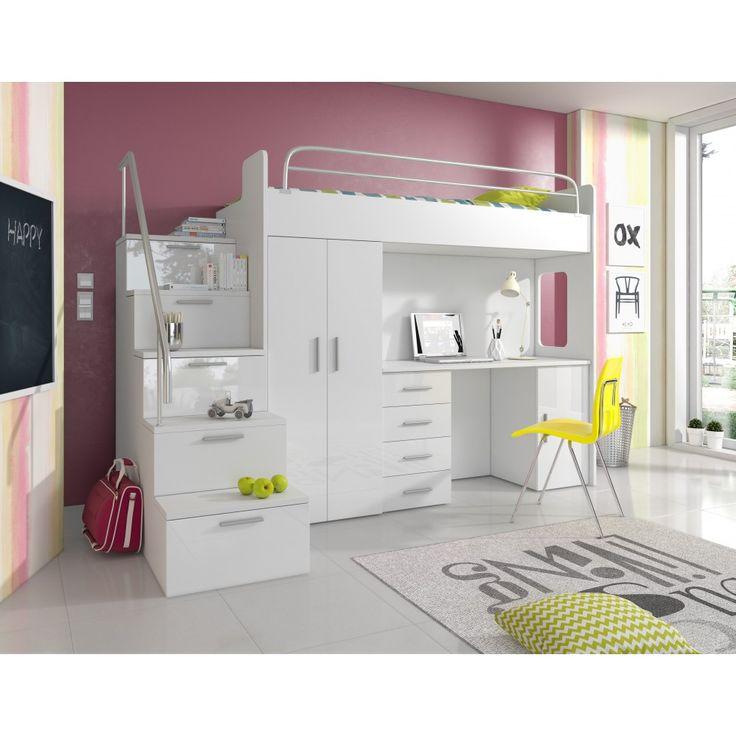 Apollo loftsäng med förvaring - trappa fram - skrivbord - fler färger :: Sängar, Sängar > Våningssängar, Barn och ungdoms möbler, Sängar > Barnsängar