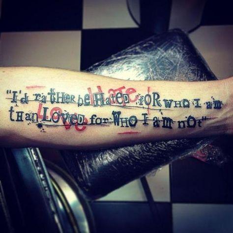 arm lettering trash polka tattoo by world 39 s end tattoo. Black Bedroom Furniture Sets. Home Design Ideas