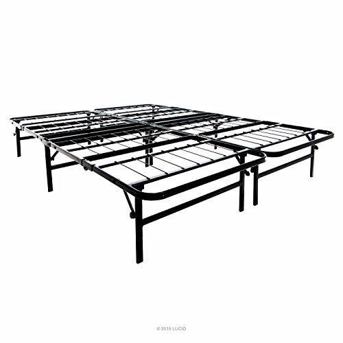 lucid quad fold platform metal bed frame compact folding mattress foundation queen size lucid
